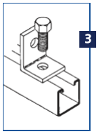 Step three of making a Unistrut connection: connecting a channel fitting.