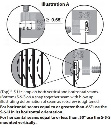 Illustration of how S-5-U clamps are use on horizontal and vertical seams.