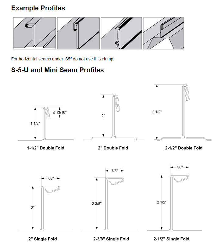 Profiles of S-5-U clamps