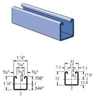 Picture of Unistrut A1000 -1-1/4 x 1-1/4″ 14 Gauge Metal Framing Channel Strut