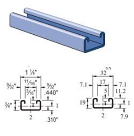Picture of Unistrut A3300- 1-1/4″ X 3/4″ Unistrut channel