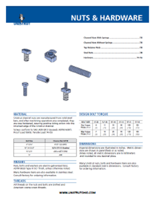 Unistrut Nuts and Hardware