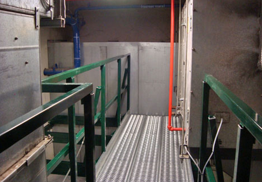 OSHA Compliant catwalk made from Unistrut Grating