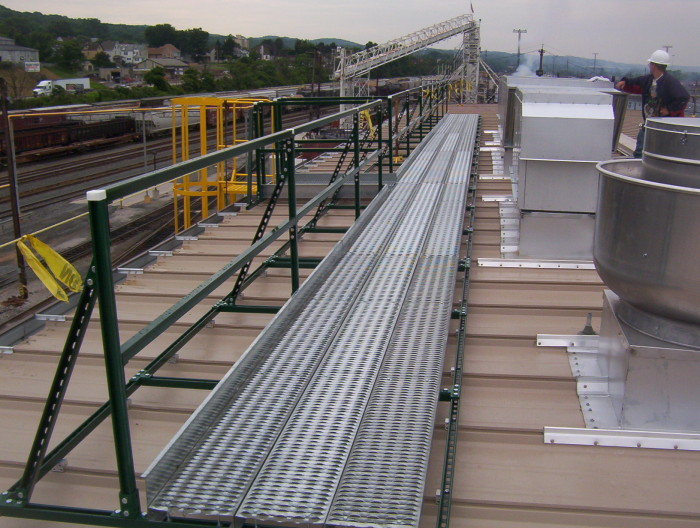 Unistrut Rooftop Walkway for Standing Seam Metal Roof